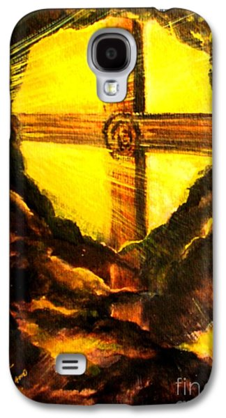 The Wooden Cross Paintings Galaxy S4 Cases - Youre His First Love Galaxy S4 Case by Hazel Holland
