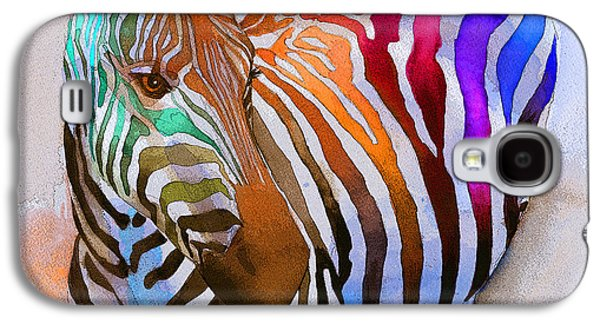 Colorful Paintings Galaxy S4 Cases - Zebra Dreams Galaxy S4 Case by Galen Hazelhofer
