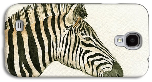 Hanging Galaxy S4 Cases - Zebra head study painting Galaxy S4 Case by Juan  Bosco
