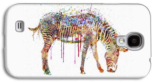Modern Digital Digital Digital Galaxy S4 Cases - Zebra watercolor painting Galaxy S4 Case by Marian Voicu