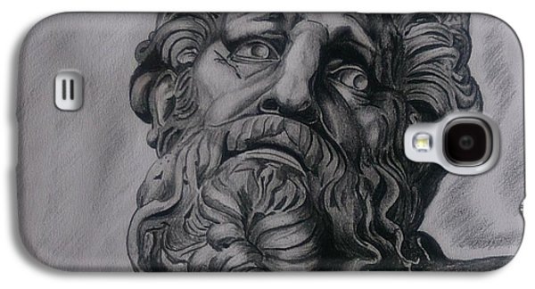 Statue Portrait Drawings Galaxy S4 Cases - Zeus  Galaxy S4 Case by Tibor  Boszormenyi