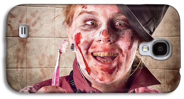 Ghastly Galaxy S4 Cases - Zombie at dentist holding toothbrush. Tooth decay Galaxy S4 Case by Ryan Jorgensen