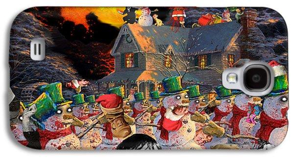 Kinkade Galaxy S4 Cases - Zombie Snowmen Christmas Galaxy S4 Case by Barry Kite