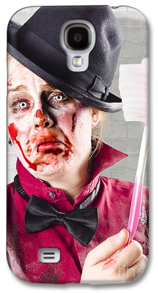 Dismay Galaxy S4 Cases - Zombie with big toothbrush. Fear of the dentist Galaxy S4 Case by Ryan Jorgensen