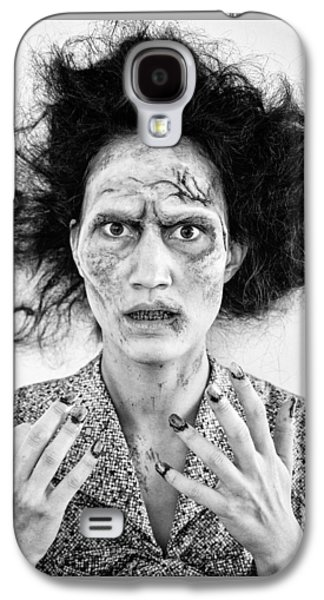 Creepy Galaxy S4 Cases - Zombie woman portrait black and white Galaxy S4 Case by Matthias Hauser