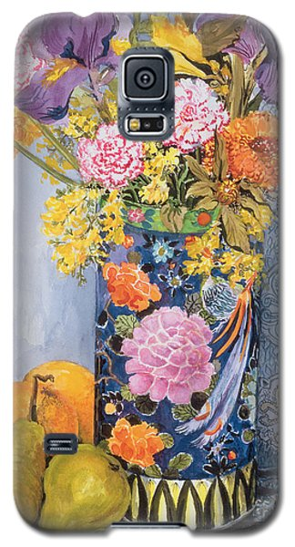 Iris And Pinks In A Japanese Vase With Pears Galaxy S5 Case by Joan Thewsey