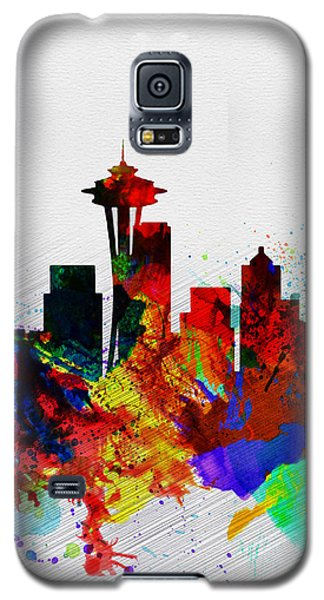 Seattle Watercolor Skyline 2 Galaxy S5 Case by Naxart Studio