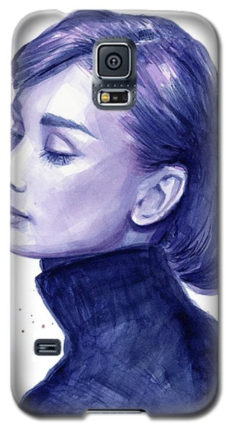 Celebrities Galaxy S5 Cases - Audrey Hepburn Portrait Galaxy S5 Case by Olga Shvartsur
