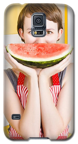 Funny Woman With Juicy Fruit Smile Galaxy S5 Case by Jorgo Photography - Wall Art Gallery