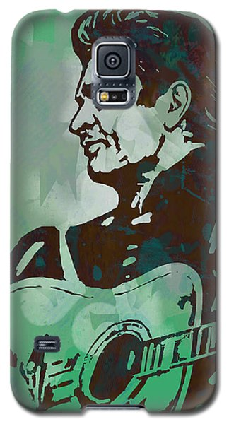 Johnny Cash - Stylised Etching Pop Art Poster Galaxy S5 Case by Kim Wang