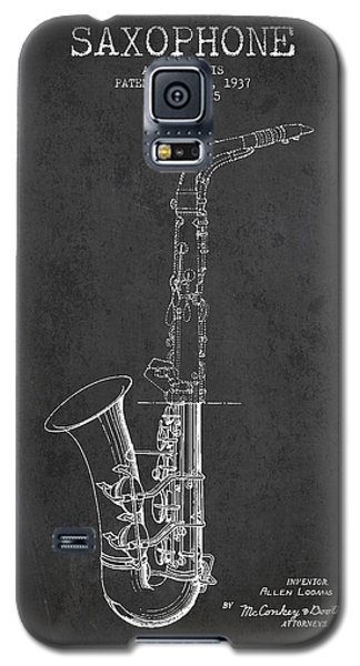 Saxophone Patent Drawing From 1937 - Dark Galaxy S5 Case by Aged Pixel