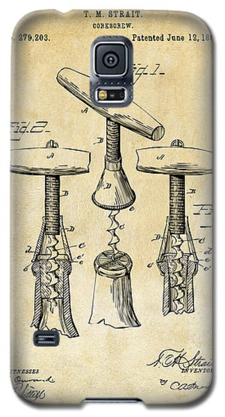 1883 Wine Corckscrew Patent Art - Vintage Black Galaxy S5 Case by Nikki Marie Smith
