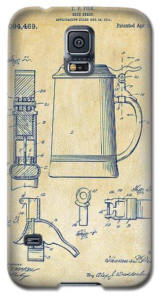 1914 Beer Stein Patent Artwork - Vintage Galaxy S5 Case by Nikki Marie Smith