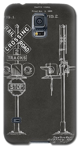 1936 Rail Road Crossing Sign Patent Artwork - Gray Galaxy S5 Case by Nikki Marie Smith