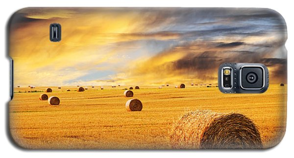 Buy Galaxy S5 Cases - Golden sunset over farm field with hay bales Galaxy S5 Case by Elena Elisseeva