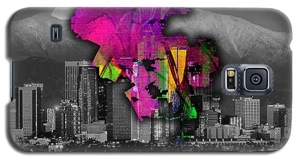 Los Angeles Map And Skyline Watercolor Galaxy S5 Case by Marvin Blaine