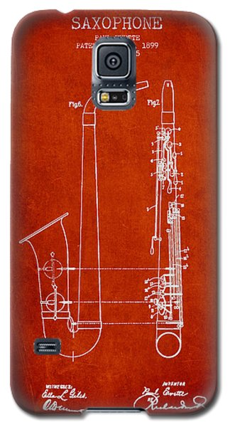 Saxophone Patent Drawing From 1899 - Red Galaxy S5 Case by Aged Pixel