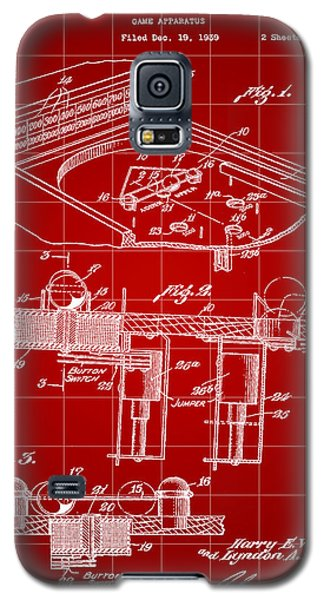 Pinball Machine Patent 1939 - Red Galaxy S5 Case by Stephen Younts