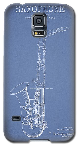 Saxophone Patent Drawing From 1937 - Light Blue Galaxy S5 Case by Aged Pixel
