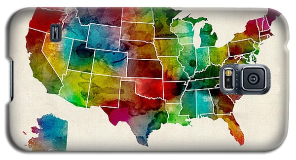 Recently Sold -  - Buy Galaxy S5 Cases - United States Watercolor Map Galaxy S5 Case by Michael Tompsett