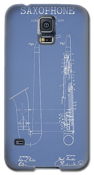 Saxophone Patent Drawing From 1899 - Light Blue Galaxy S5 Case by Aged Pixel