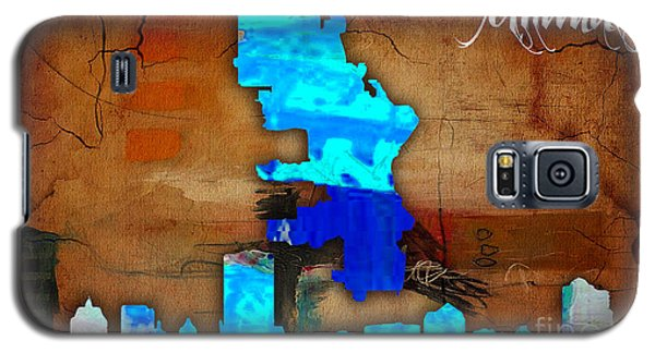 Milwaukee Map And Skyline Watercolor Galaxy S5 Case by Marvin Blaine