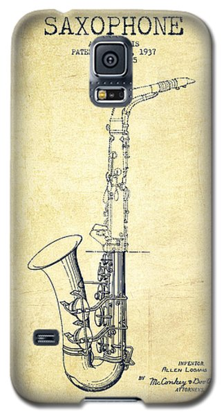 Saxophone Patent Drawing From 1937 - Vintage Galaxy S5 Case by Aged Pixel
