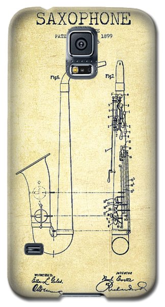 Saxophone Patent Drawing From 1899 - Vintage Galaxy S5 Case by Aged Pixel