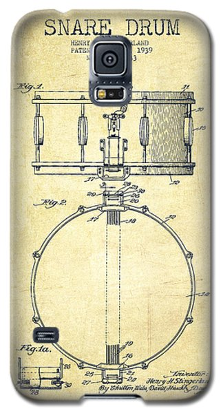 Snare Drum Patent Drawing From 1939 - Vintage Galaxy S5 Case by Aged Pixel