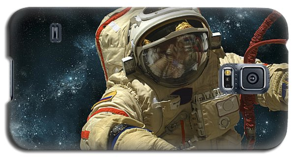 A Cosmonaut Against A Background Galaxy S5 Case by Marc Ward