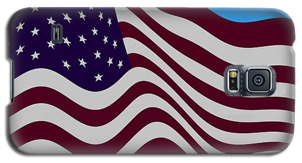 Abstract Burgundy Grey Violet 50 Star American Flag Flying Cropped Galaxy S5 Case by L Brown