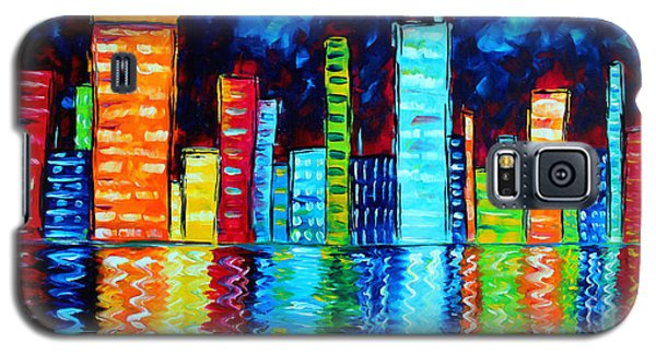 Abstract Art Landscape City Cityscape Textured Painting City Nights II By Madart Galaxy S5 Case by Megan Duncanson