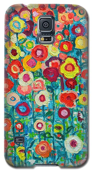 Impressionism Galaxy S5 Cases - Abstract Garden Of Happiness Galaxy S5 Case by Ana Maria Edulescu