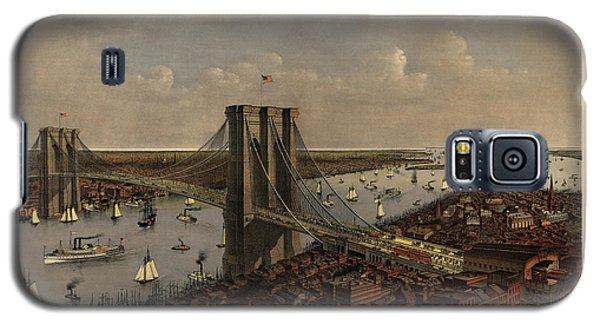 Antique Birds Eye View Of The Brooklyn Bridge And New York City By Currier And Ives - 1885 Galaxy S5 Case by Blue Monocle