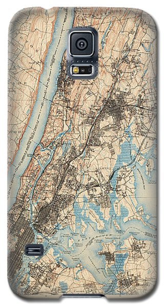 Antique Map Of New York City - Usgs Topographic Map - 1900 Galaxy S5 Case by Blue Monocle