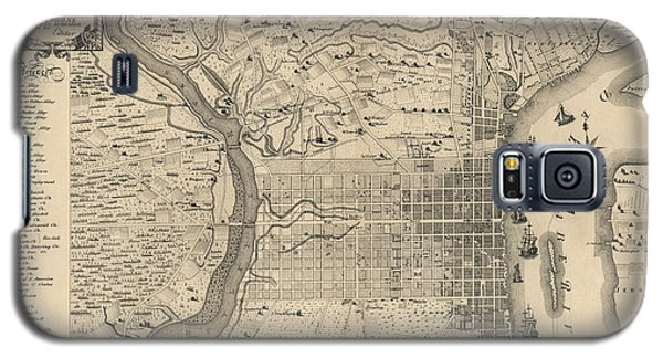 Antique Map Of Philadelphia By P. C. Varte - 1875 Galaxy S5 Case by Blue Monocle