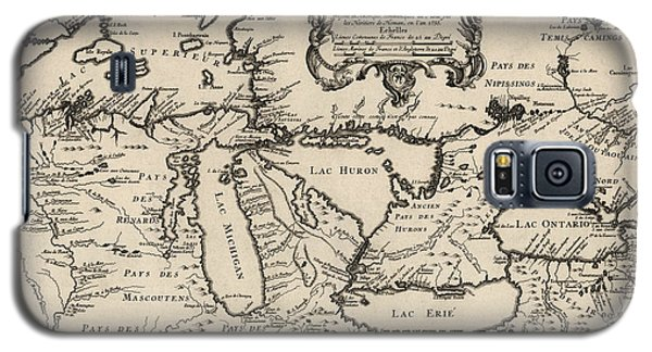 Antique Map Of The Great Lakes By Jacques Nicolas Bellin - 1755 Galaxy S5 Case by Blue Monocle