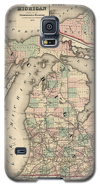 Antique Railroad Map Of Michigan By Colton And Co. - 1876 Galaxy S5 Case by Blue Monocle