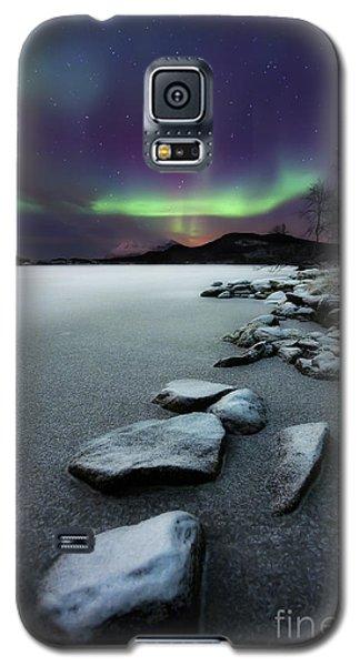 Green Galaxy S5 Cases - Aurora Borealis Over Sandvannet Lake Galaxy S5 Case by Arild Heitmann