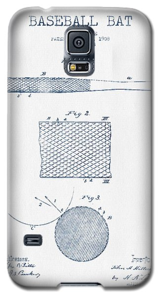 Baseball Bat Patent Drawing From 1904 - Blue Ink Galaxy S5 Case by Aged Pixel