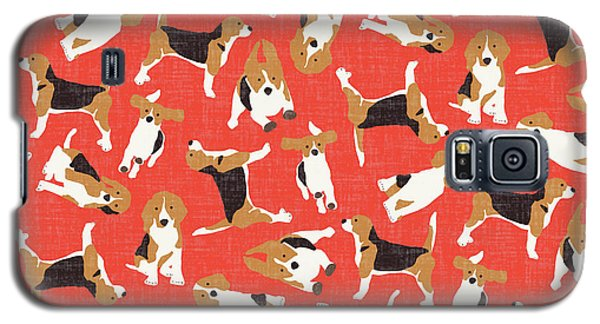 Beagle Scatter Coral Red Galaxy S5 Case by Sharon Turner