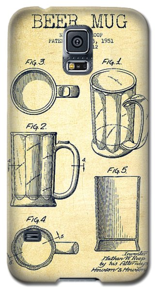 Beer Mug Patent Drawing From 1951 - Vintage Galaxy S5 Case by Aged Pixel