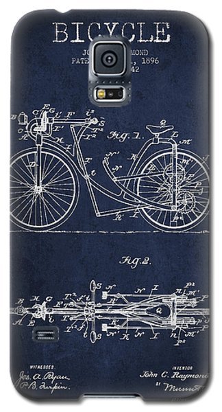 Bicycle Patent Drawing From 1896 - Navy Blue Galaxy S5 Case by Aged Pixel