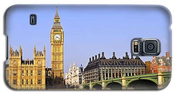 Landmarks Galaxy S5 Cases - Big Ben and Westminster bridge Galaxy S5 Case by Elena Elisseeva