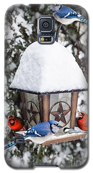 Birds On Bird Feeder In Winter Galaxy S5 Case by Elena Elisseeva