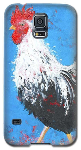Black And White Rooster On Blue  Galaxy S5 Case by Jan Matson