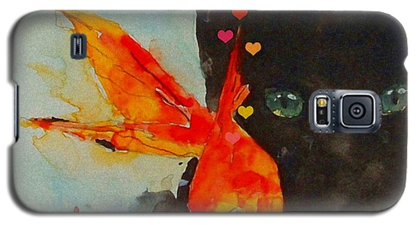 Black Cat And The Goldfish Galaxy S5 Case by Paul Lovering