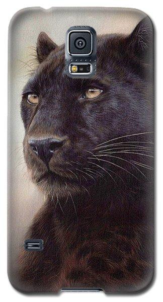 Black Leopard Painting Galaxy S5 Case by Rachel Stribbling