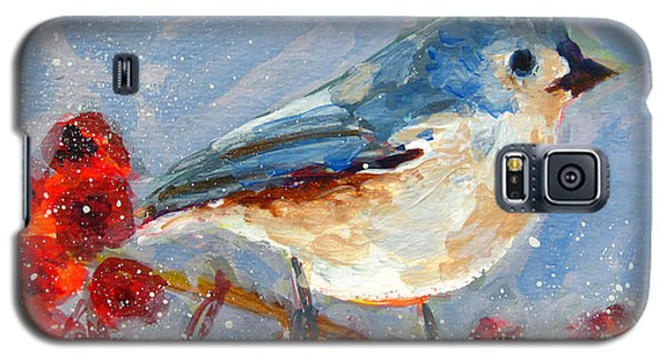 Blue Bird In Winter - Tuft Titmouse Modern Impressionist Art Galaxy S5 Case by Patricia Awapara
