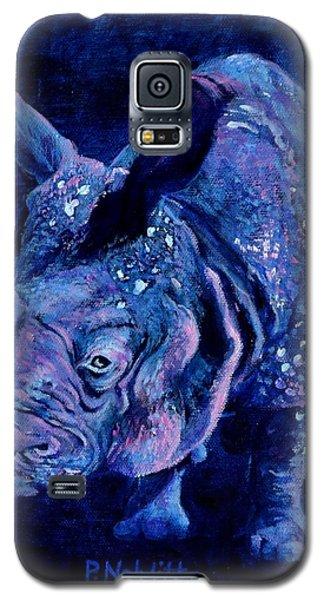 Indian Rhino - Blue Galaxy S5 Case by Paula Noblitt